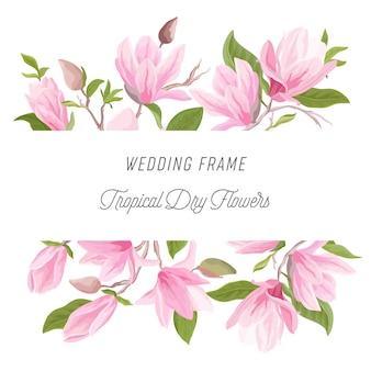Bordo floreale esotico dell'acquerello con fiori di magnolia, foglie, fiori. illustrazione di cornice vettoriale per matrimonio per invito, biglietto di auguri, sfondo moderno, design di lusso, poster estivo