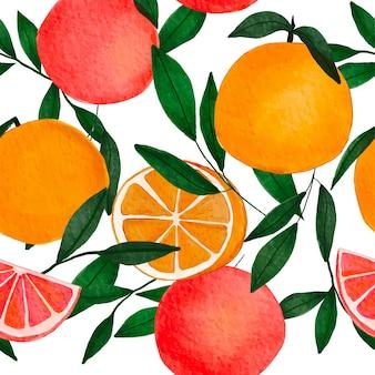 Acquerello arance esotiche pompelmi e foglie verdi senza cuciture