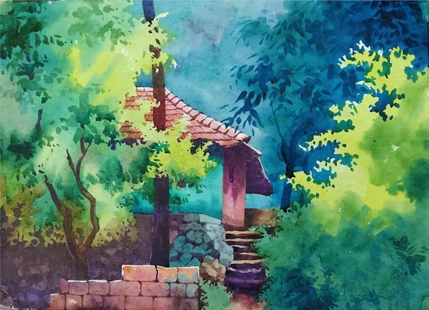 Castello di fiaba dell'acquerello nell'illustrazione disegnata a mano foresta