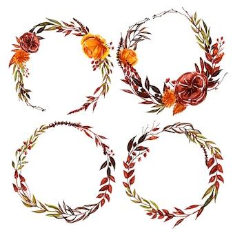 Ghirlanda floreale floreale e foglia di caduta dell'acquerello
