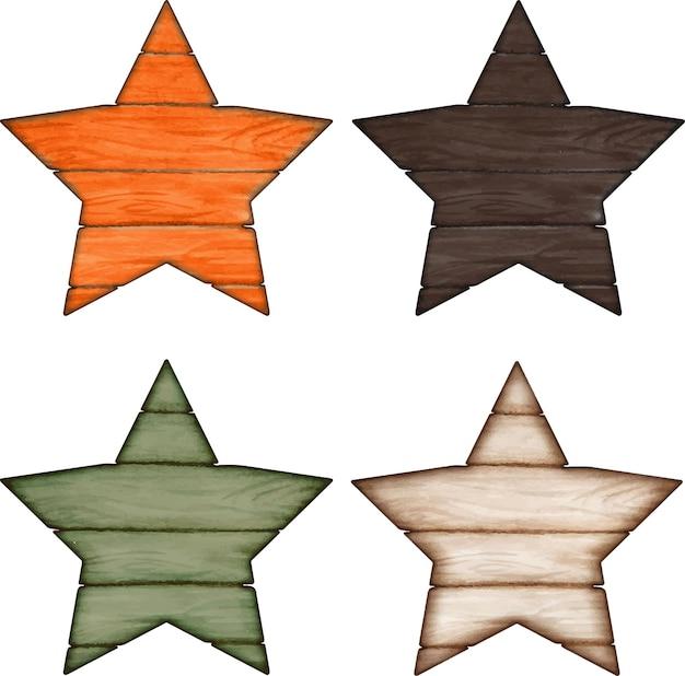 Segni a forma di stella in legno autunnale ad acquerello