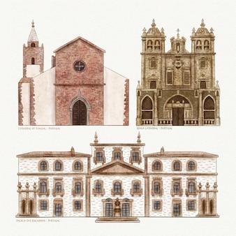Collezione di famosi monumenti architettonici dell'acquerello
