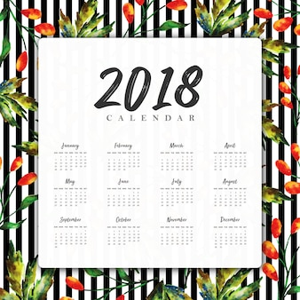Calendario floreale dell'acquerello 2018 di nuovo anno con strisce nere