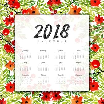 Calendario floreale del nuovo anno 2018 dell'acquerello floreale