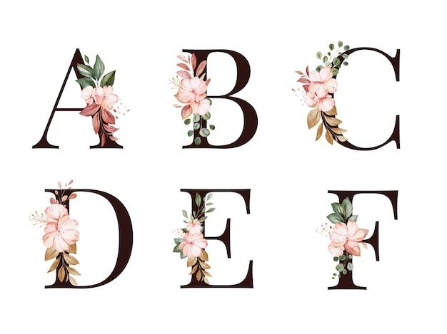 Insieme di alfabeto floreale dell'acquerello di a, b, c, d, e, f con foglie e fiori rossi e marroni. composizione di fiori per logo, carte, branding, ecc