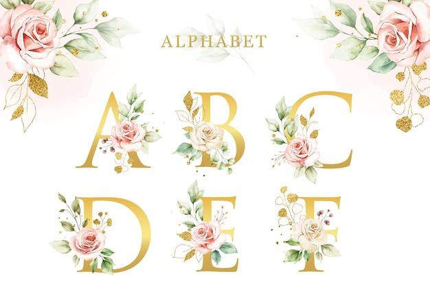 Insieme di alfabeto floreale dell'acquerello di con foglie d'oro
