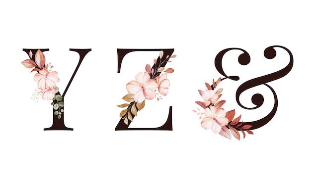 Insieme floreale di alfabeto dell'acquerello di y; z; & e foglie.