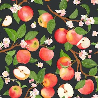 Reticolo senza giunte dell'acquerello mela floreale. vector frutti autunnali, fiori, foglie texture. sfondo botanico estivo, carta da parati naturale, tessuto moda boho sullo sfondo, carta da regalo autunnale