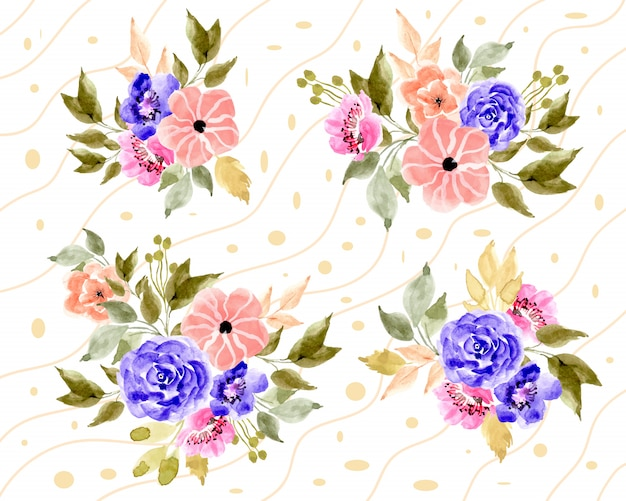 Disposizione floreale dell'acquerello con sfondo di linea