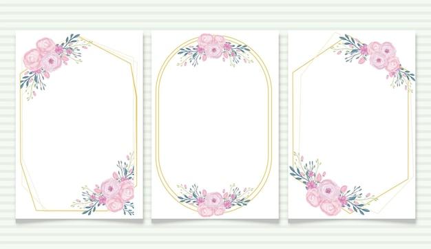 Cornice per banner con sfondo floreale ad acquerello con stile vintage per invito a nozze
