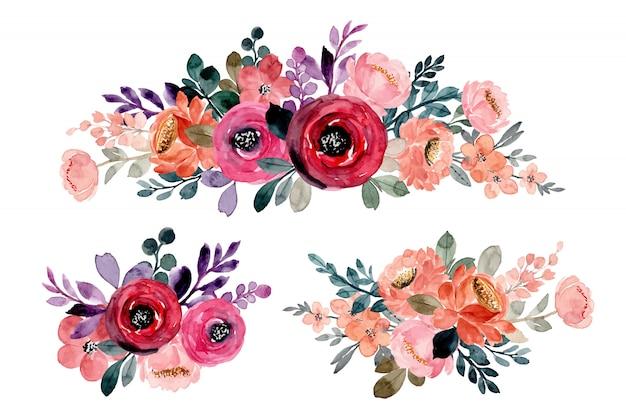 Collezione di bouquet floreali dell'acquerello