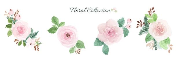 Insieme di elementi di disegno del mazzo floreale dell'acquerello.