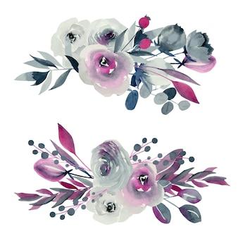 Illustrazioni di mazzi di fiori floreali dell'acquerello, rose indaco e cremisi