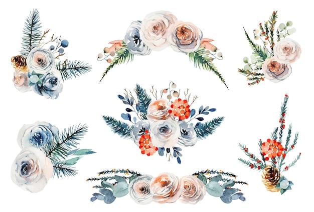 Set di mazzi di fiori floreali dell'acquerello, composizioni floreali vintage di rose bianche e rosa, eucalipto e rami di abete