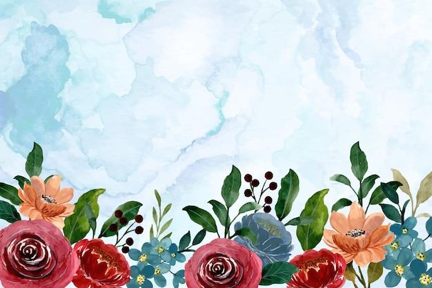 Fondo astratto di borgogna floreale dell'acquerello