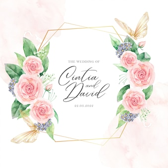 Modello di carta di nozze di cornici floreali e farfalle dell'acquerello