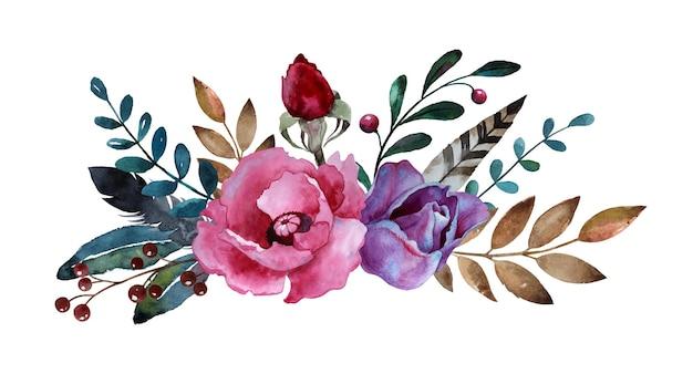 Composizione floreale dell'acquerello con fiori foglie piume e bacche