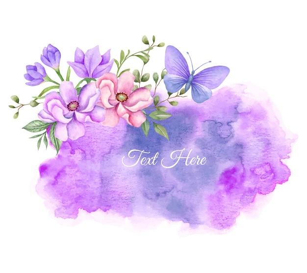 Decorazione cornice floreale ad acquerello con splash