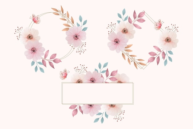 Pacchetto cornice floreale dell'acquerello