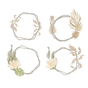 Set cornice floreale dell'acquerello. stile boho