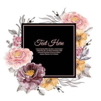 Acquerello cornice floreale vintage rosa rosa e viola