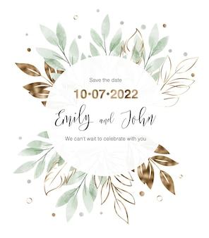 Biglietto d'invito per matrimonio con cornice floreale ad acquerello foglie d'oro e verdi
