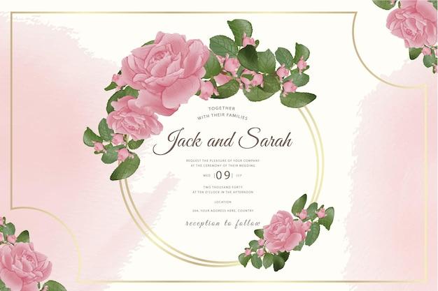 Invito a nozze con cornice floreale ad acquerello con cerchio dorato vettore premium