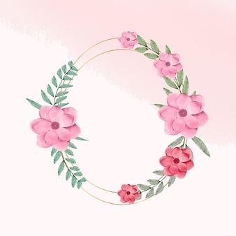 Cornice floreale ad acquerello per il logo del monogramma del matrimonio e la cornice del marchio