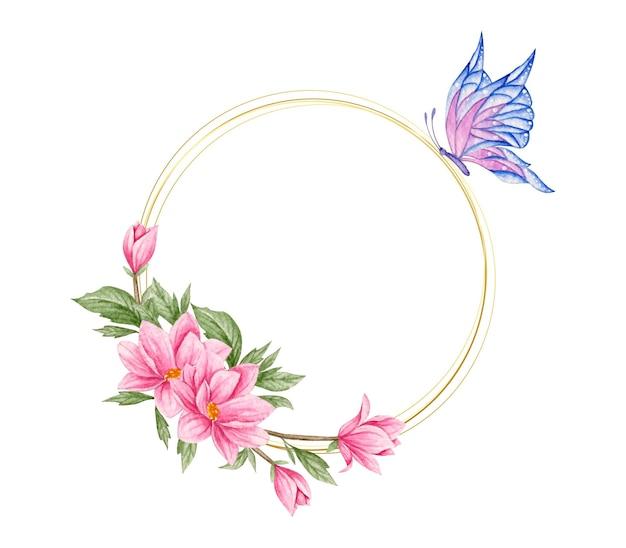 Cornice floreale dell'acquerello con farfalla