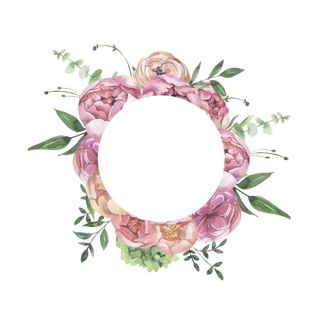 Cornice floreale dell'acquerello con fiori e foglie.