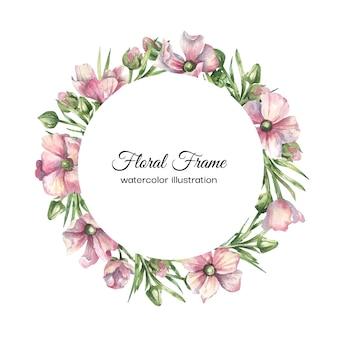 Cornice floreale dell'acquerello con fiori rosa delicati