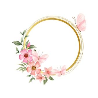 Cornice floreale acquerello con fiori primaverili e farfalle