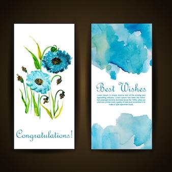 Cartolina d'auguri floreale di acquerello