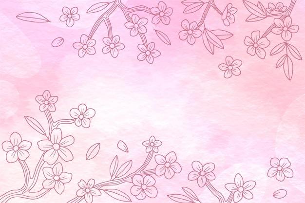 Fondo disegnato a mano floreale dell'acquerello watercolor