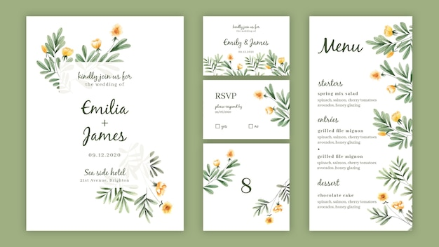 Modello di pacchetto invito floreale dell'acquerello per il matrimonio