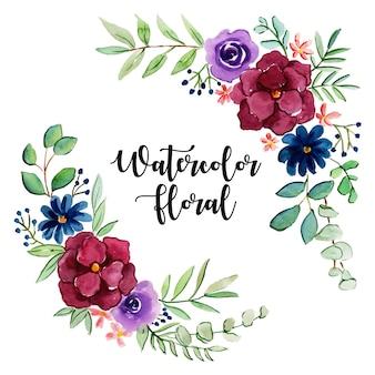 Collezione acquerello floreale e foglie