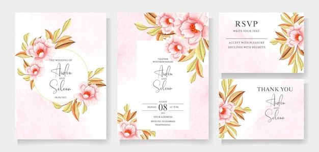 Foglie e fiori floreali dell'acquerello sul modello dell'invito di nozze