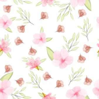 Acquerello floreale e foglie senza motivo