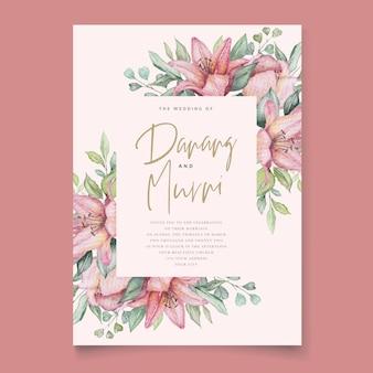 Acquerello floreale e foglie set di carte invito a nozze Vettore Premium