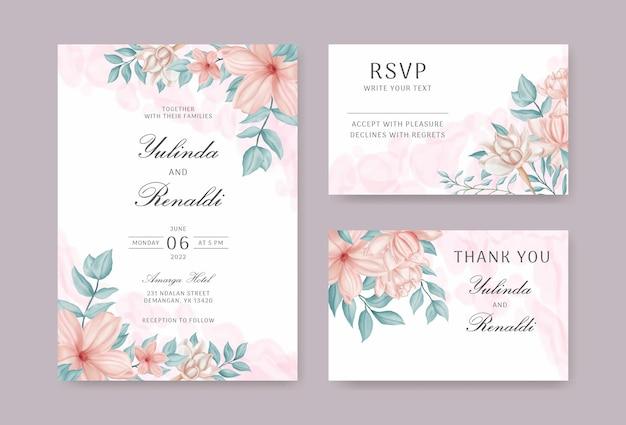 Set di biglietti d'invito per matrimonio con fiori e foglie ad acquerello