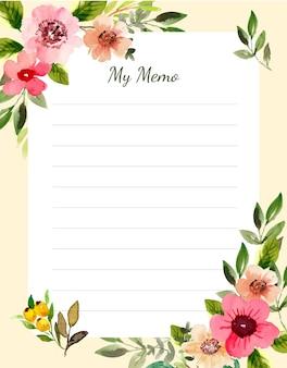Modello di nota floreale dell'acquerello dell'appunto