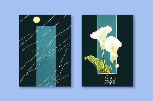 Copertina per quaderno floreale ad acquerello in colori freddi
