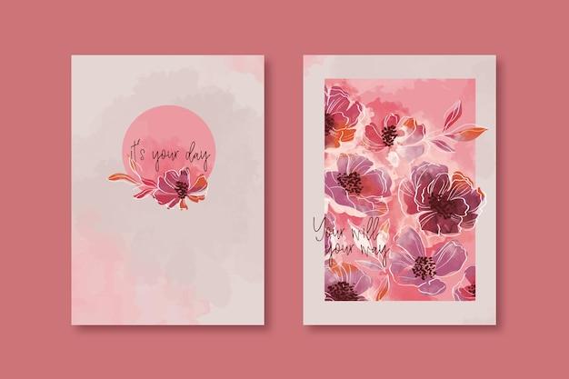 Disegno della copertina del quaderno floreale ad acquerello in colori caldi