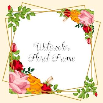 Ornamento floreale dell'acquerello per la progettazione dell'invito di nozze