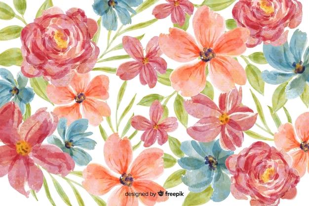 Sfondo di motivi floreali ad acquerello Vettore Premium