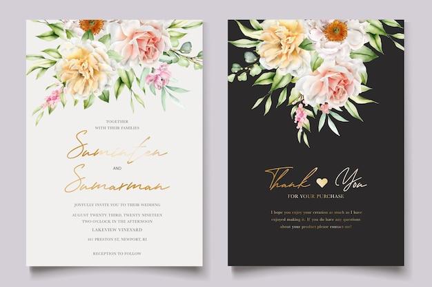 Set di carte invito acquerello floreale peonie e rose