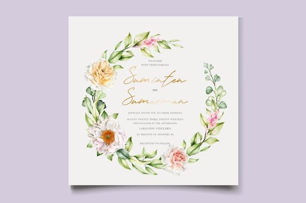 Acquerello floreale peonie e rose invito card