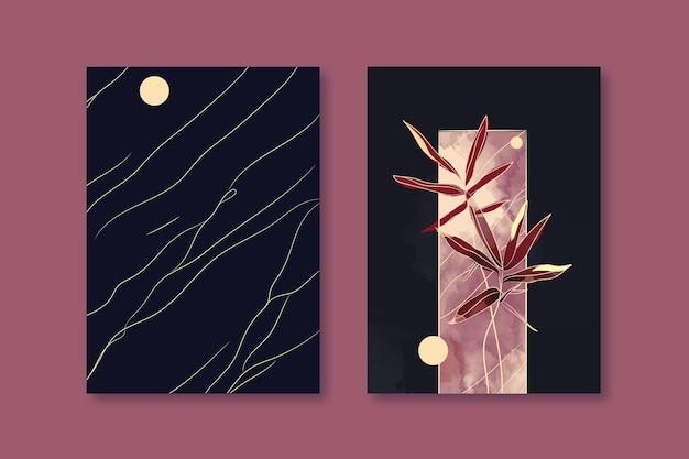 Disegno di copertina dell'agenda floreale ad acquerello nero e vinotinta
