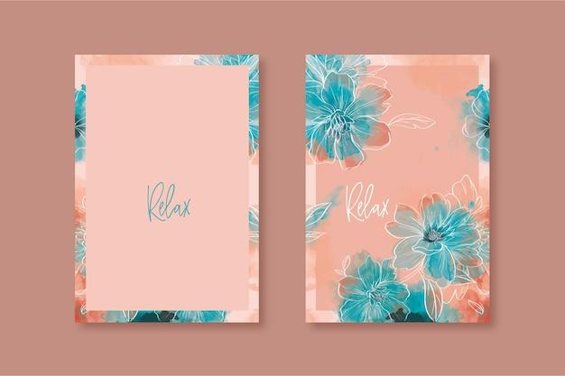 Disegno di copertina dell'agenda floreale ad acquerello arancione Vettore Premium