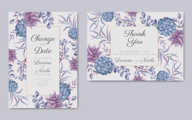 Pacchetto di carte di nozze posticipate floreali dell'acquerello